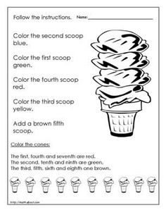 These Worksheets Will Help Your Kids Learn Ordinal Numbers: Worksheet # 1 Ordinal Names for the Ice Cream Scoops
