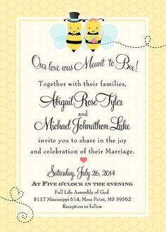Bumblebee Meant to Bee Wedding Invitation  by PartyPopInvites, $17.00