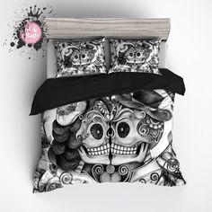 Pencil Sketch Rose Kissing Man and Wife Sugar Skull Duvet Bedding Sets