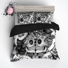 Pencil Sketch Rose Man and Wife Sugar Skull Duvet Bedding Sets