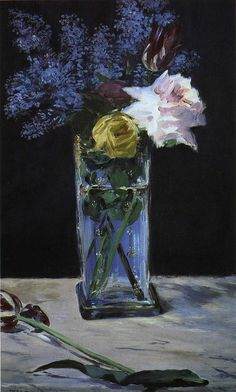 Datei:Édouard Manet - Roses, Tulips et Lilas dans un vase de christal. Edouard Manet, Claude Monet, Modern Art, Contemporary Art, Arte Van Gogh, Still Life Art, Arte Floral, Oeuvre D'art, Flower Art