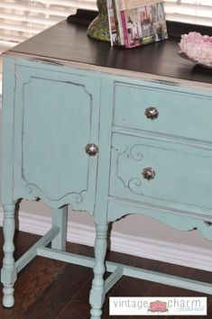 Painted buffet.. top plus whitish edge and blue.