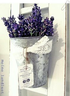 uncommon Door Decor, Lavender in Galvanized bucket with a lace bow
