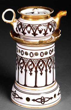 A Paris~porcelain~Veilleuse (Teapot on stand)~ Gothic inspiration~Lavender ground with gilt accents~Origin France~Circa 1801-1900