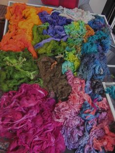 Yesterday's dyeing for spinning