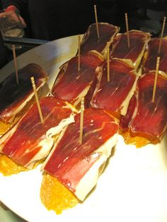For lunch in Madrid, Spain, try Jamon Iberico, it's the best quality ham in the world.