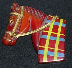 Vintage Bakelite Horse Head Brooch Pin RARE