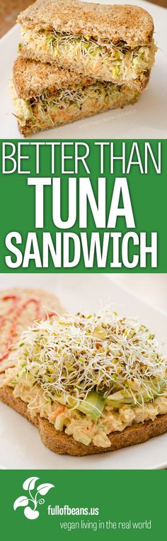 Vegan Tuna Salad Sandwich? We are often asked what we pack for lunch. Portable and easy meals, like the classic tuna salad sandwich, are an essential for folks heading off to school or work for the day. This chickpea vegan tuna salad is an easy, satisfying and delicious vegan alternative to the usual non-vegan sandwich fillers. #vegan #sandwiches #vegetarian #tuna