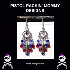 LOVE THESE RED, WHITE & BLUE!  .22 Bead Bullet Heart Earrings  www.jonsguns.biz