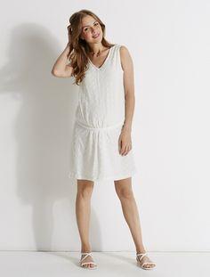 Vestido de encaje de embarazo BLANCO CLARO LISO