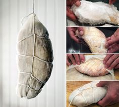 Duck Ham Hanging- unlike pork, a duck prosciutto only takes a week to cure. I am really, really, really tempted.