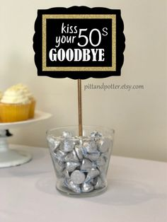 Kiss Your Goodbye centerpiece stick for Birthday Party for Women or Birthday Party for Men. Available in color themes gold, silver, green, blue, red from 40th Birthday Party For Women, 60th Birthday Party Decorations, Moms 50th Birthday, 40th Birthday Gifts, Birthday Woman, Birthday Table, Birthday Sayings, Birthday Crafts, 30th Birthday Ideas For Men Surprise