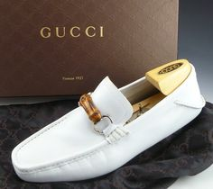 $329 GUCCI 138204 BAMBOO BIT DRIVING MOCCASIN MENS 8 WHITE US 8.5 UK 7.5 EU 41.5