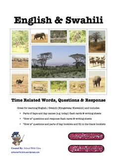 Are you or your students wanting to learn a unique language?  Swahili (Kiswahili) is a Bantu language spoken in Tanzania, Kenya, Uganda, Rwanda, Burundi, Mozambique and the Democratic Republic of the Congo.  This resource can be used by Swahili speakers to learn English (Kiingereza) or English speakers to learn Swahili or add it to your Kwanzaa celebrations preparation.