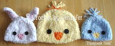 Crochet Pattern for Pipsqueaks Bunny and Chick Hats - 5 sizes, baby to adult