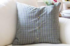 Christmas Winter Green Decorative Pillow Cover from Repurposed shirt 18 x 18 #11