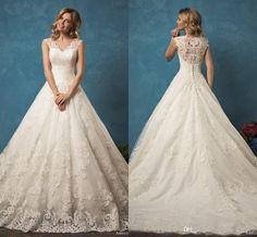 2016 Amelia Sposa Full Lace Vintage Wedding Dresses V-neck Sexy Illusion Back Lace Appliques Arabic Dubai…