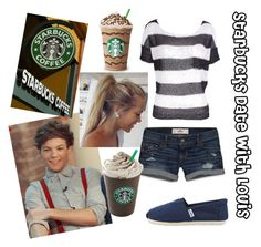 """""""Starbucks Date with Louis"""" by for-the-love-of-music ❤ liked on Polyvore featuring Hollister Co., Fate and TOMS"""