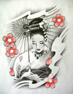 Geisha Tattoo - Cherry Blossom n Geisha Tattoo Design