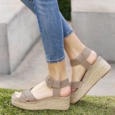 Comfortable, Gorgeous Taupe Open Toe Platform Wedge Heels Espadrille Sandals you best choice for School, Date -TOP Design by FSJ Heeled Espadrilles, Platform Espadrille Sandals, Flats, Platform Wedge, Shoes Heels, Sexy Sandals, Fashion Heels, Ootd Fashion, Pointed Heels