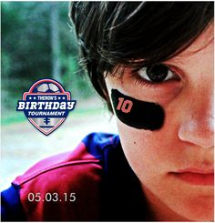 First thing to do for his football and soccer themed birthday party after finalizing the logo was to take his photo and then I photoshopped his age under his eye. This was an Instagram graphic and a quick save the date graphic I sent out to family members.