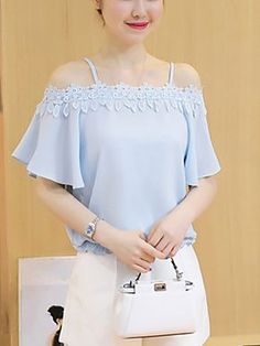 Women's Going out Cute Summer Blouse,Solid Patchwork Boat Neck Short Sleeves Polyester Thin Women's Fashion Leggings, Blouse Models, Summer Blouses, African Wear, Blouse Online, Stylish Dresses, Beautiful Outfits, Blouses For Women, Going Out
