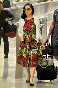 5bcebdee04f2 Dita Von Teese Returns to LAX in Same Dress She Left Wearing!  Photo Dita  Von Teese s hair game is on point while arriving at LAX Airport on an  inbound ...