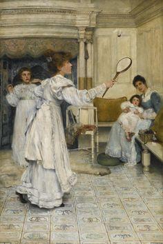 Laura Theresa Alma-Tadema 1852 - 1909 BRITISH BATTLEDORE AND SHUTTLECOCK