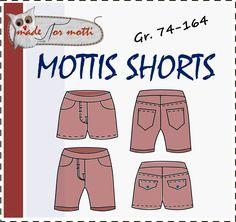 Mottis Shorts, 74-164, sommerhose, kurze Hose Hose Nähen Schnittmuster,  Kinder c04460e45b