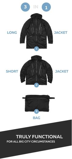 World's first jacket with automatic length reduction and adjustable sleeves. Transforms into a bag, Water Repellent, 14 Special Pockets