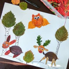 Unique autumn clip art set of googly-eyed whimsical animals, made with real leaves from my garden. Autumn Leaves Craft, Autumn Crafts, Fall Crafts For Kids, Autumn Art, Nature Crafts, Toddler Crafts, Diy For Kids, Leaf Crafts, Fun Crafts