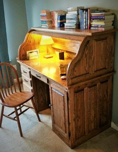 Raised Panel Rolltop Desk Made From Red Oak. English Chestnut Stain With  Two Coats Of Antique Oil Varnish To Finish. Wire Access Is Walnut Inlaid  Shipu0027s ...
