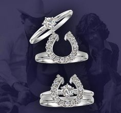 Two Become One Horse Shoe Wraps & Equestrian Engagement Sets Equestrian Jewelry, Horse Jewelry, Cowgirl Jewelry, Western Jewelry, Cowgirl Bling, Indian Jewelry, Engagement Ring Shapes, Engagement Sets, Dream Engagement Rings