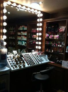 "Lights mirror and makeup storage...Beauty, that's my passion. ""Kathy's Day Spa Party""! Skincare, facials masks and make-up techniques!! Start your own Spa Party business, ask me how? http://aprioribeauty.com/IC/KathysDaySpa  https://www.facebook.com/AprioriBeautyKathysDaySpa"