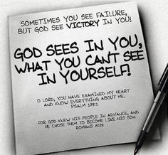 Sometimes you see failure, but God sees victory in you! God see in you, what you can't see in yourself! Psalm 139, Psalms, Bible Scriptures, Bible Quotes, Godly Quotes, Faith Quotes, Gratitude Quotes, Biblical Quotes, Scripture Verses