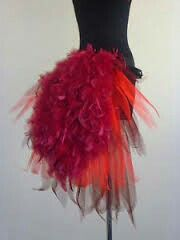 Burlesque Tutu Skirt Red Burgundy Bustle Feathers Size 14 16 18 Fancy Dress