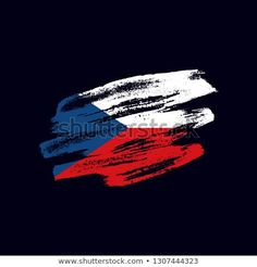 Vector brush painted flag of the Czech Republic isolated on dark blue background. Frayed and scratched the national symbol of the European country Vector Brush, National Symbols, Dark Blue Background, Flag Vector, Czech Republic, Blue Backgrounds, New Pictures, Royalty Free Photos, Flags