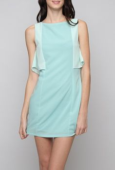 Dress - Gallery Curator Contrast Ruffle Sleeveless Shift Dress in Light Blue Cute Dresses, Cute Outfits, Nautical Dress, Sweet Dress, Light Blue, Feminine, Fashion Pics, Clothes For Women, Sewing Tips
