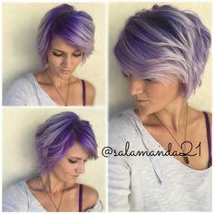 Purple ombré on short hair