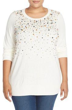 Plus Size Embellished Crewneck Sweater
