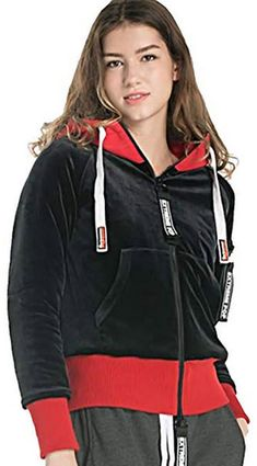 Extreme Pop Womens Velour Zip-Up Hooded Padding Jackets red