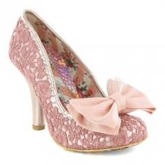 Irregular Choice Mal E Bow Womens Lace Court Shoes - Pink & Gold