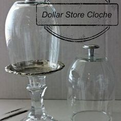 dollar store cloche, crafts, how to, repurposing upcycling Dollar Store Hacks, Dollar Stores, Glass Domes, Glass Jars, Glass Glue, Glass Candle, Wine Glass, Cloche Decor, Crafts To Make