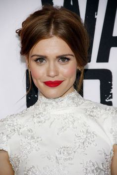 Holland Roden goes for a bold, crimson lip