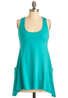 Trapeze-y Going Tank in Green | Mod Retro Vintage Short Sleeve Shirts | ModCloth.com