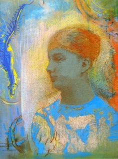 Odilon Redon   -  Young Girl Facing Left. Fogg Museum of Art (United States)       Date unknown  Height: 52.6 cm (20.71 in.), Width: 37.7 cm (14.84 in.)  Drawing - pastel   on gray paper