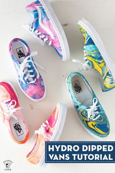 Learn how to customize your shoes with hydro dipping. A video and tutorial showing you how to hydro dip vans or other canvas shoes. Painted Sneakers, Painted Shoes, Vans Tie Dye, Diy Hydro Dipping, Tye And Dye, Tye Dye, How To Dye Shoes, How To Paint Shoes, Diy Tie Dye Shoes
