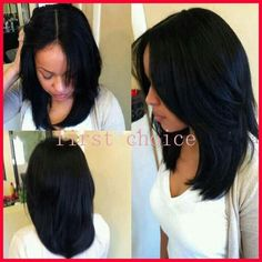 Synthetic wig middle part Short Female haircut lace front wig with ...
