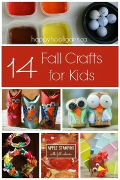 14 easy, inexpensive fall crafts for kids! Apple prints, fall collages, adorable owls, autumn leaves and more, for toddlers and preschoolers to make!