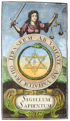 ☤alquimia - Alchemy: Frontispiece engraving from Johann Michael Faust Philalethes Illustratus, Frankfurt, An Alchemy artwork. Magnum Opus, Tarot, Ouroboros, Alchemy Art, Esoteric Art, Occult Art, Sacred Symbols, Symbolic Tattoos, Sacred Geometry